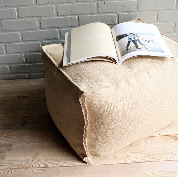 Hey, I found this really awesome Etsy listing at https://www.etsy.com/listing/152541249/rectangular-burlap-ottoman-pouf