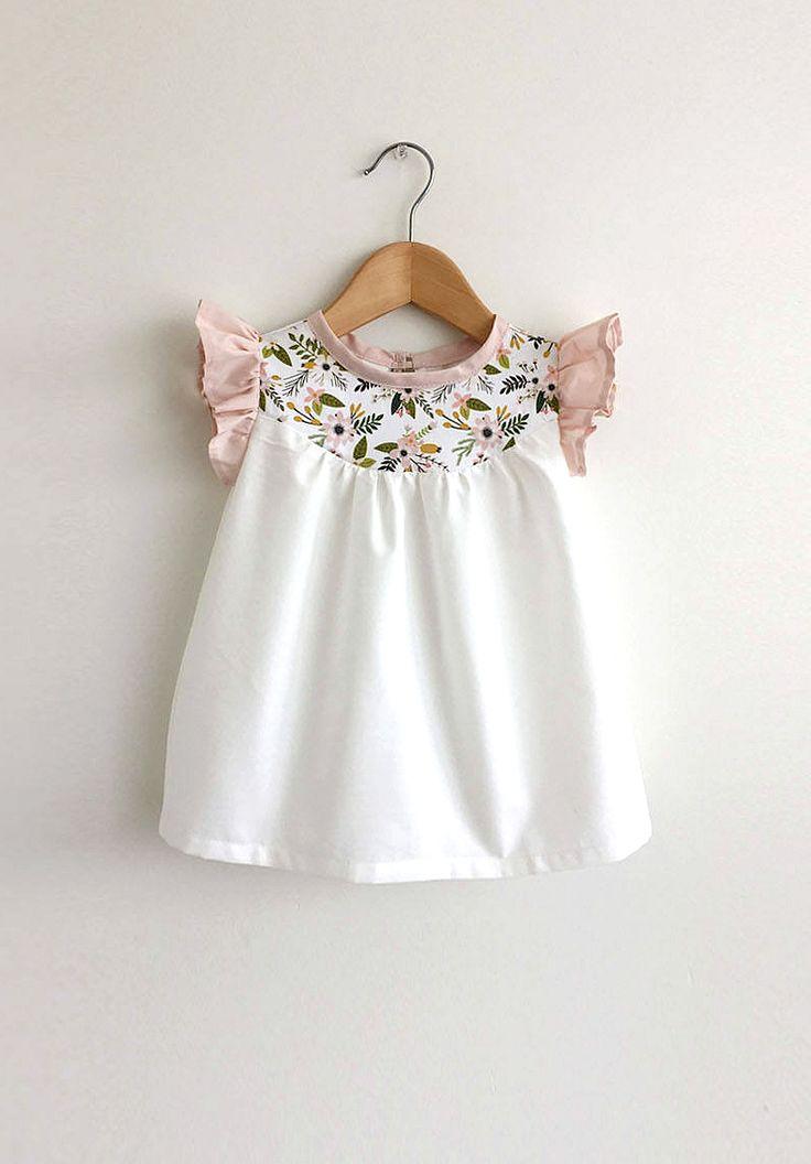 Handmade Cotton Dress With Pink & Gold Floral Deta…