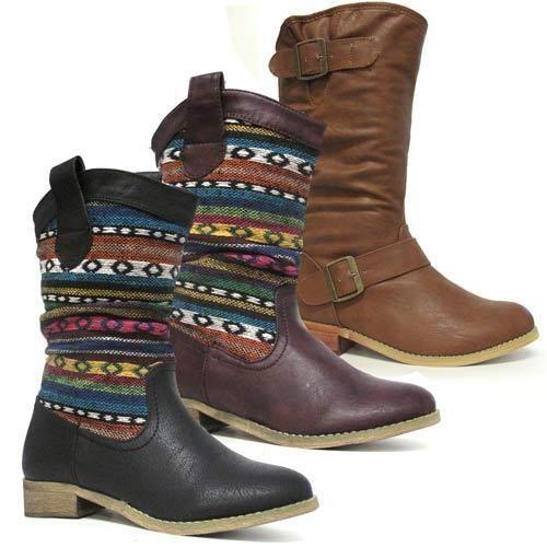 LADIES COWBOY BOOTS WOMENS MID CALF RIDING HEELS BIKER WINTER AZTEC SHOES SIZE | Clothes, Shoes & Accessories, Women's Shoes, Boots | eBay!
