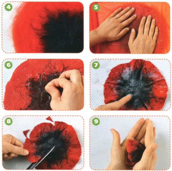 Мокрое валяние: маки в цвету | Felted poppies