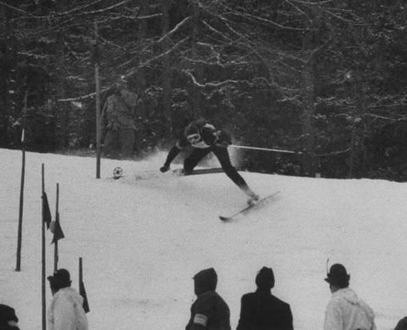 Team GB skier Sue Holmes competing during the Winter Olympics on 1956