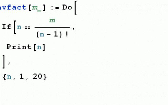 Con Mathematica basta una sola riga di codice per il calcolo dell'antifattoriale