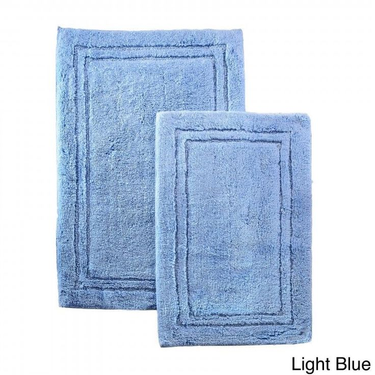 Bathroom Rug Set Bath Mats Cotton 2 Piece Home Decor Non Slip Light Blue Rugs