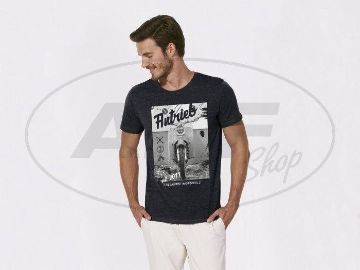 """NEU & EXCLUSIV nur bei AKF: ANTRIEB Shirt """"Legendary Motorcycle"""" in Schwarzgrau meliert. 100% Bio-Baumwolle, Größen S bis XXL  #akf #antrieb #simson #fashion #style #moped #shirtsformen #schwalbe #kr51"""