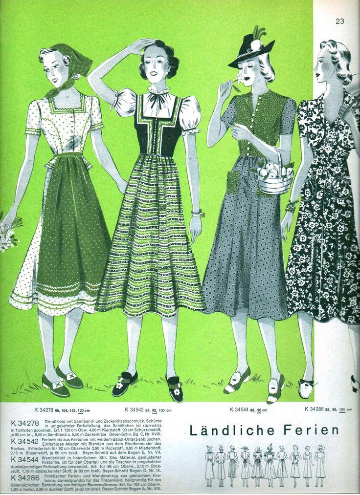 1930s dirndl inspired fashions
