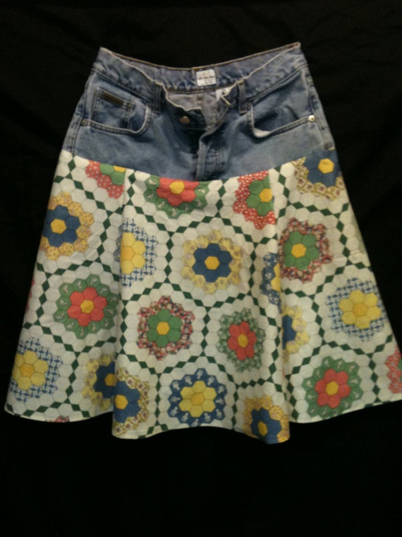upcycled jean skirt