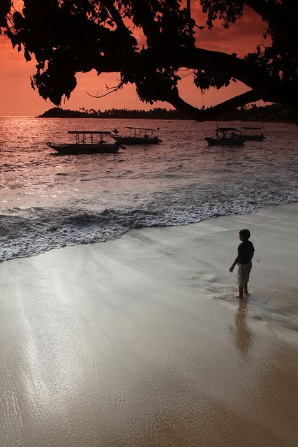Sunset in beach, Unawatuna, Sri Lanka To book go to www.notjusttravel.com/anglia