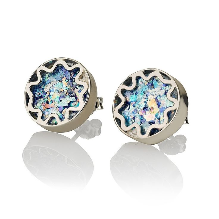 """925 Sterling Silver, Roman GlassSize: 14 x 14 mm / 0.5 x 0.5 """"These one of a kind sterling silver stud earrings feature a stunning cut of ancient Roman gl"""