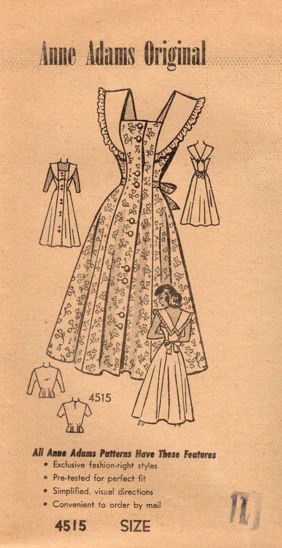 1940s Anne Adams 4515 FF Vintage naaien patroon Junior Miss Sundress, Jumper, Blouse maat 11 buste 29