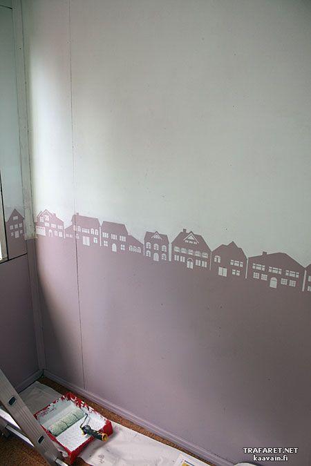Мастер-класс по росписи трафаретами. DIY Результат - трафаретный рисунок как горизонт на стене