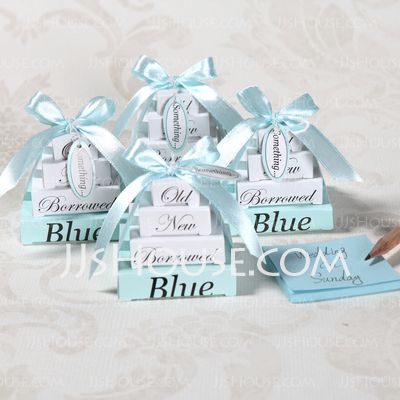Something Old New Borrowed And Blue Note Pad Wedding Favor Set Of