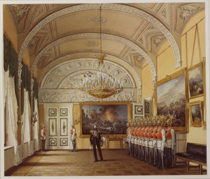 THE ROMANOVS RESIDENCES~~ INTERIORS OF THE WINTER PALACE, ST PETERSBURG  Nearly 59 Interiors of the Winter Palace in the works of Eduard Gau, the outstanding Russian painter of the 19th century in this pin, click on the text as [все картины художника] below the drawing.  Gau made 'the portraits' of interiors of The Romanovs residences in St Petersburg and Gatchina on the order of The Romanovs; only by his aquarelles we can see how the interiors of The Romanovs palaces looked like