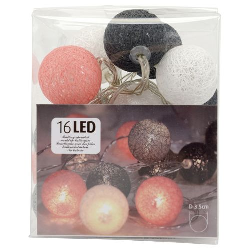 lichtsnoer met LED bollen 16st raffia