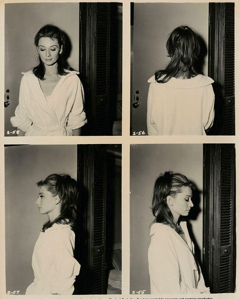"""Screen test shots of actress Audrey Hepburn (1929-1993), for Blake Edwards' film, """"Breakfast at Tiffany's,"""" 1961"""