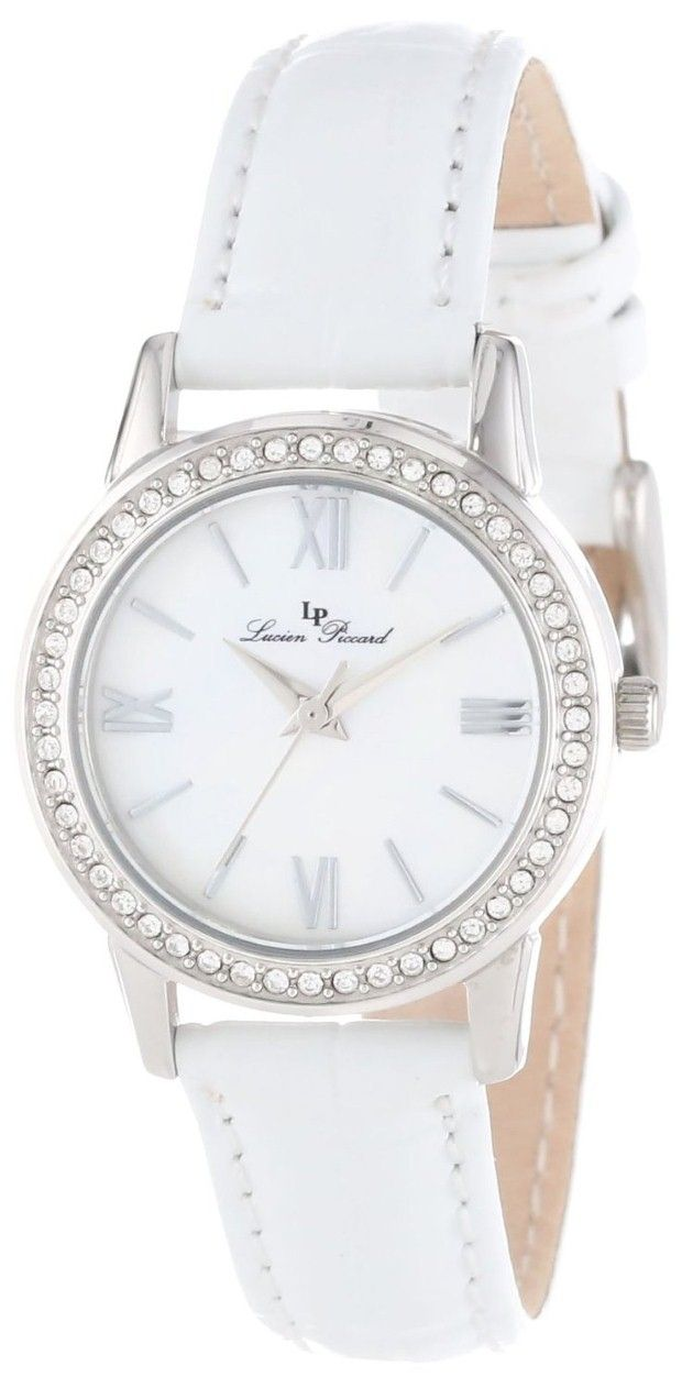 women's watches |  Best white watches for women Lucien Piccard Women's LP-12006-02MOP-WHT Veleta White Mother-Of-Pearl Dial Swarovski Crystal Accents White Leather Watch