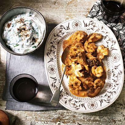 Absolutely lovely vegetarian mushroom rogan josh from Anjum Anand