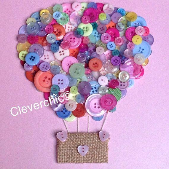 Hot Air Balloon Button Art in Frame Buttonart by Cleverchic1