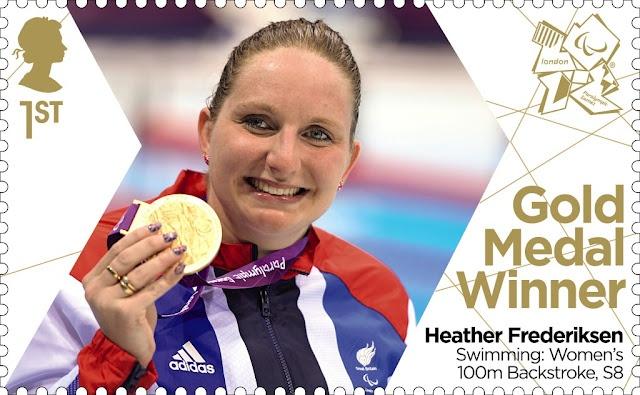 Paralympics Gold Medal Winner stamp - Swimming: Women's Backstroke, S8, Heather Frederiksen.