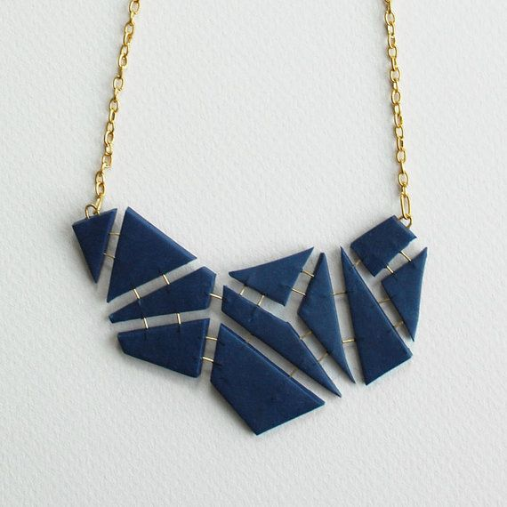Geometric polymer clay statement necklace