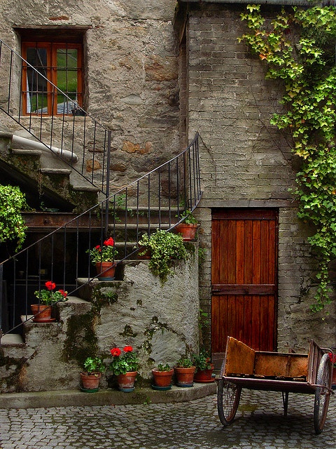 Lovely cobbled courtyard with spiral steps leading up and geraniums and a climber to add a little colour to the stone built home