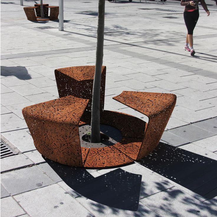 corten urban bench