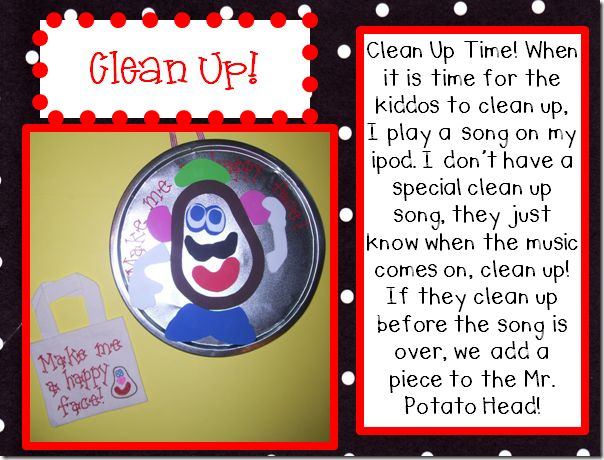 Clean up time preschool stuff pinterest potato for Music to clean to