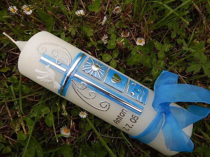 52 Taufkerze Kommunionkerze Junge Mädchen Blau NEU von Lenz  Kerzen auf DaWanda.com