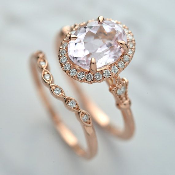 Engagement ring 14kt Pink gold Morganite set by OscargamaJewelry