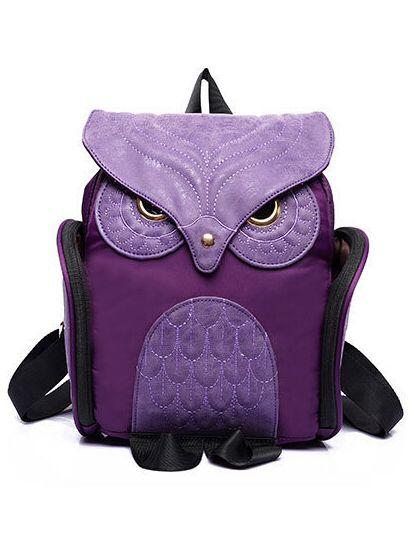 Shop Purple Owl Pattern Shaped Backpack online. SheIn offers Purple Owl Pattern…