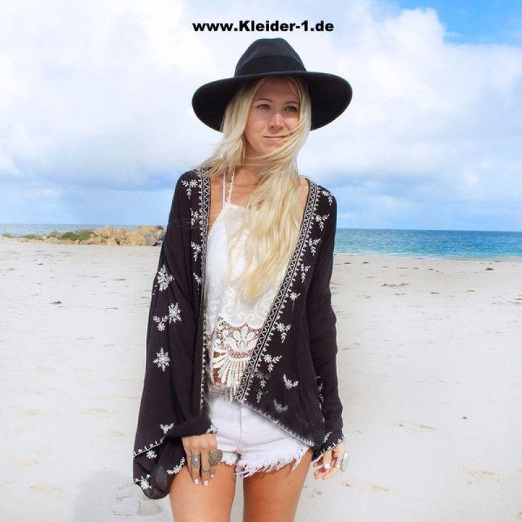 Damen Sommer Kimono Schwarz