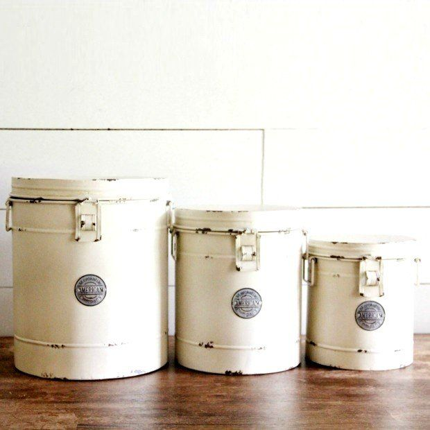 Metal Farmhouse Canister, Set of 3 :: Paint my set off-WHITE ... ?