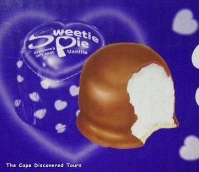 Sticky marshmallow covered in chocolate - find it in any grocery store in South Africa