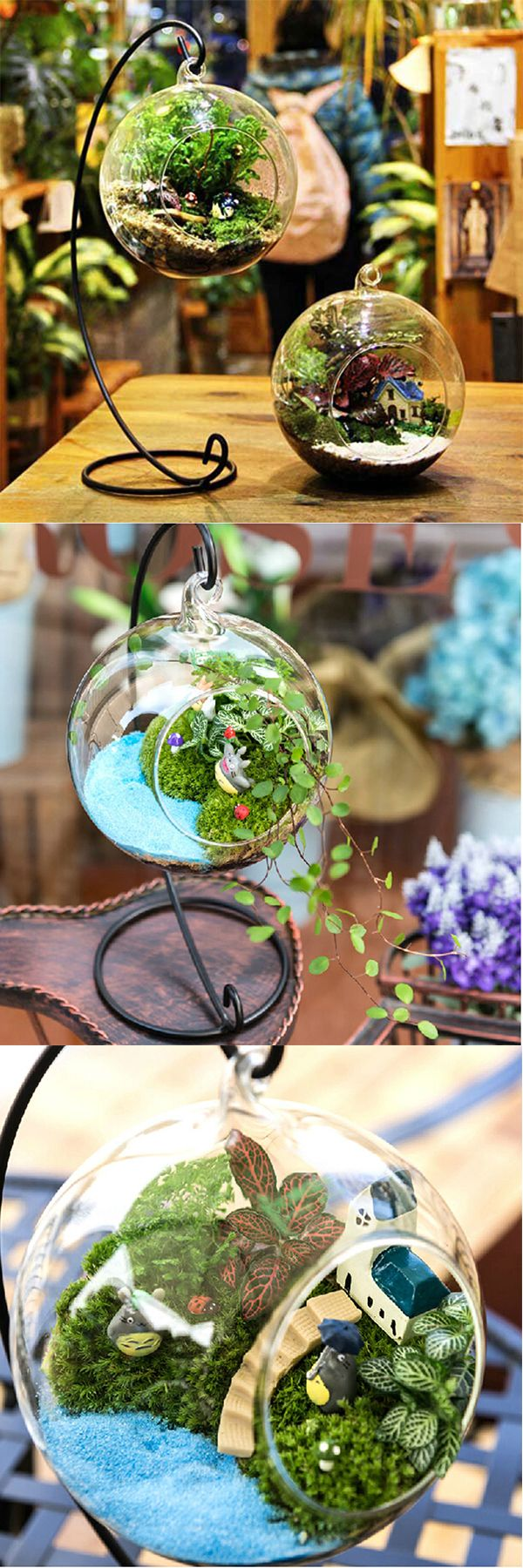US$7.99 + Free shipping. DIY Micro Landscape Plant Glass Hanging Ball, Home Decoration.A Good decoration for bedroom, living room, balcony and office. You can put candles or flowers into the bottle. Create a mini garden as your like.