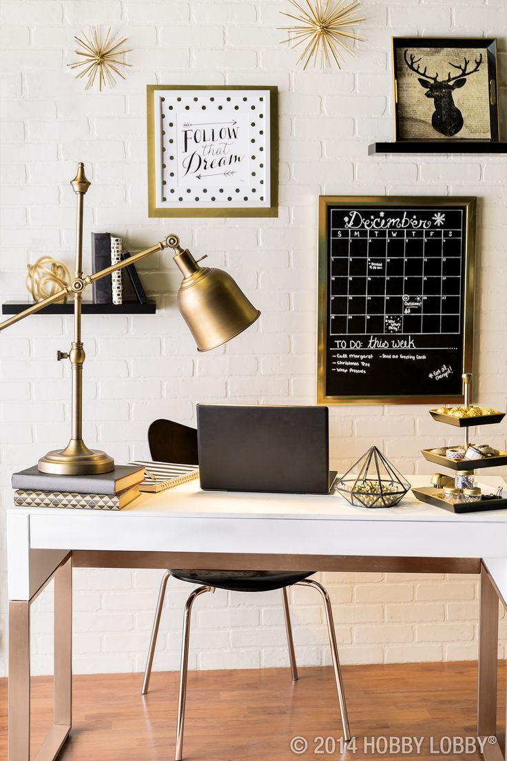 Dress up your office with modern touches and stylish gold.: