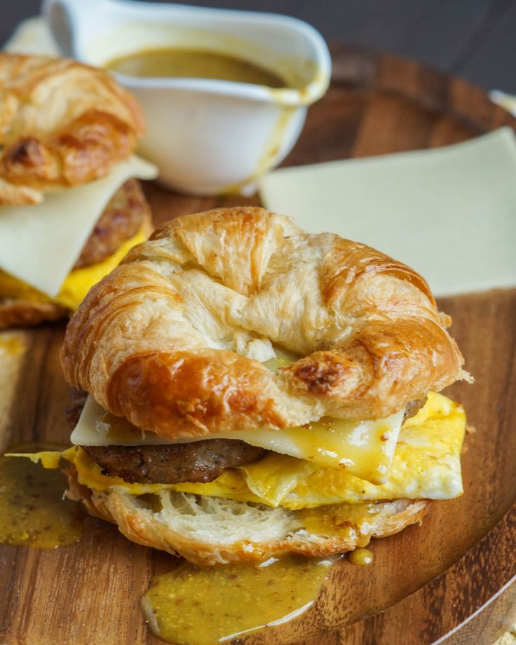 Sausage Egg and Cheese Croissant with Maple Dijon Sauce