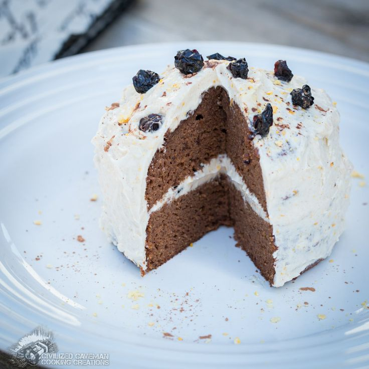 Chocolate Blueberry Cake with Mango Cinnamon Frosting | Civilized Caveman Cooking Creations (Paleo)