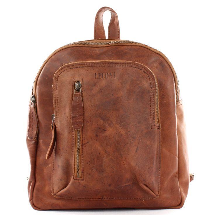 LECONI kleiner Rucksack Vintage Leder braun LE1011