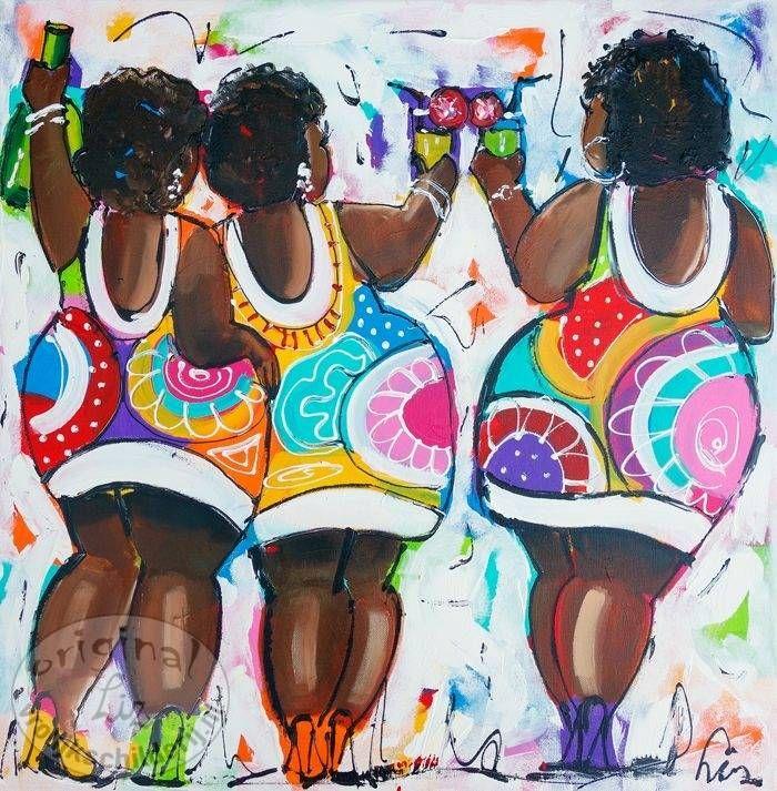 Vrolijk Schilderij Dames bruin