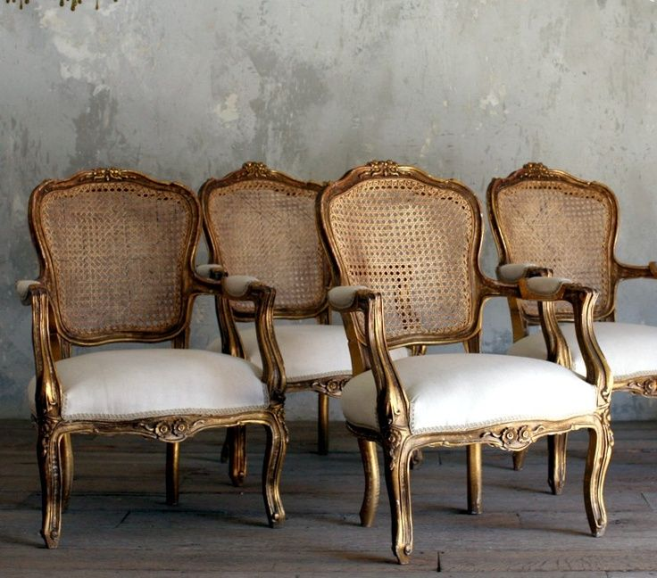 gold gilt interiors   Vintage Gold Cane Gilt Louis XV French Style Upholstered Open- Arm ...