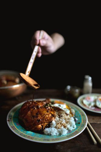 Mama's braised chicken legs over rice, with fried chili capers