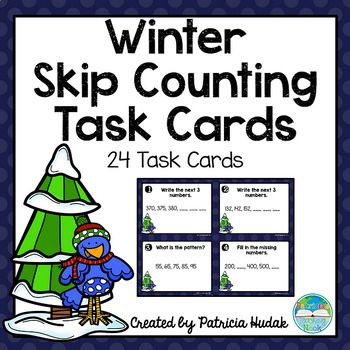 Practice or review skip counting skills with these cute winter skip counting task cards! This set includes 24 task cards for practice with counting forwards and backwards by fives, tens and hundreds for numbers up to 1000. Both full color and black & white, printer friendly versions of the cards are included.