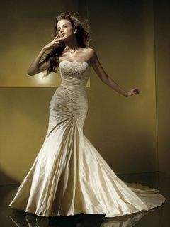 2014 Style Trumpet / Mermaid Strapless Applique Sleeveless Court Trains Taffeta Wedding Dresses For Brideses