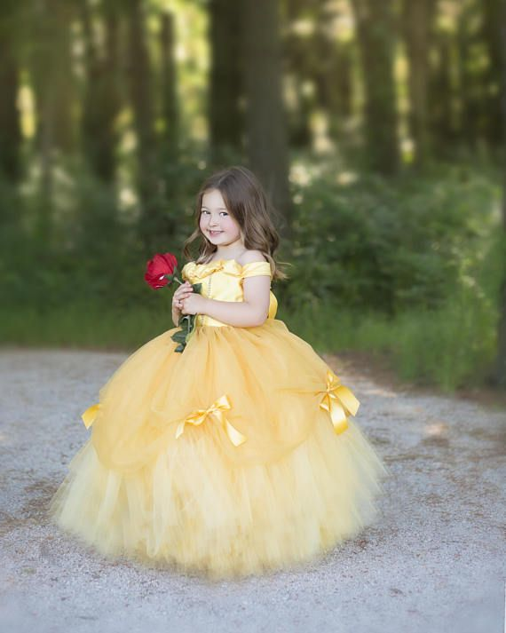 Tale as old as time! A gorgeous golden yellow gown inspired by my favorite princess...Princess Belle! This dress is made with hundreds of yards of butter and golden tulle to make it extra poufy (no petticoat or hoop skirt necessary). A gorgeous mesh skirt is elegantly draped and