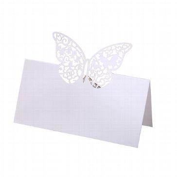 Romantische Tischkarten mit originellen Schmetterlingen in Ornamentstanzung