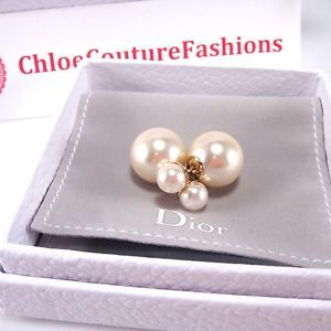 Authenitc New Christian Dior Mise En Dior Tribal Tee Shirt Pearl Gold Earrings | eBay