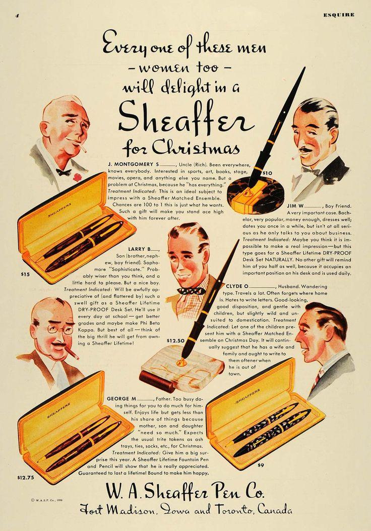1936 Ad W. A. Sheaffer Fountain Pens Holiday Mens Gifts - ORIGINAL ESQ1