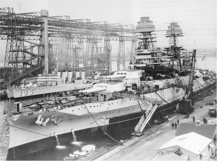 "tin-can-sailor: "" Circa 1929-1931, USS Arizona (BB-39) undergoing modernization at Norfolk. The destroyer Cole (DD-155) is in the background. """