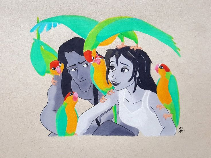 Tarzan and Jane Porter drawn with prismacolor and holbein colored pencils. My favorite scene from Disney's Tarzan during the Strangers Like Me song.