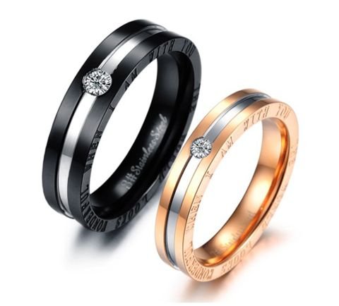 Fashion titanium steel rings couple his and hers promise ring sets alliances of marriage love ring prices in euros anel de pedra #wedding #weddingrings #couple #couplerings