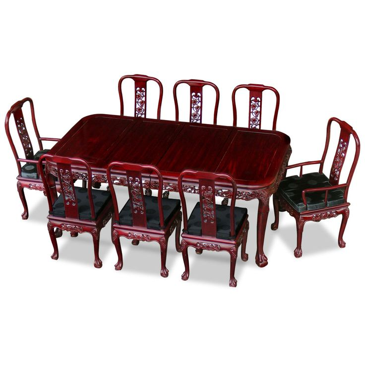 80in Rosewood Queen Ann Grape Motif Dining Table With 8 Chairs. Intricately  Hand Carved With
